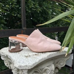 Zara Pink Suede Mules with Acrylic Heel